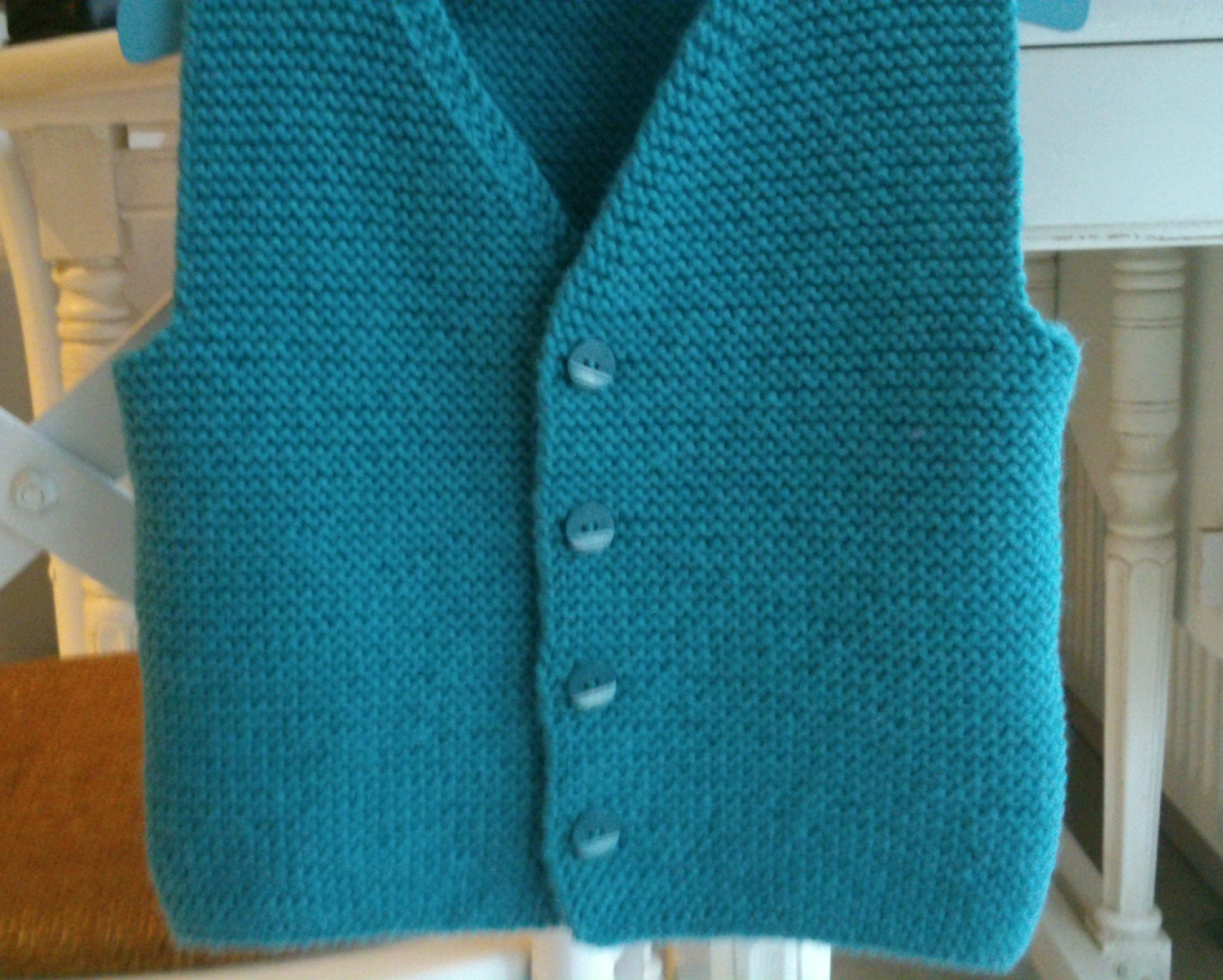 Gilet tricot sans manche point mousse