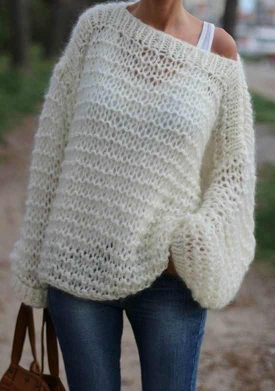 Tricot pull grosse laine