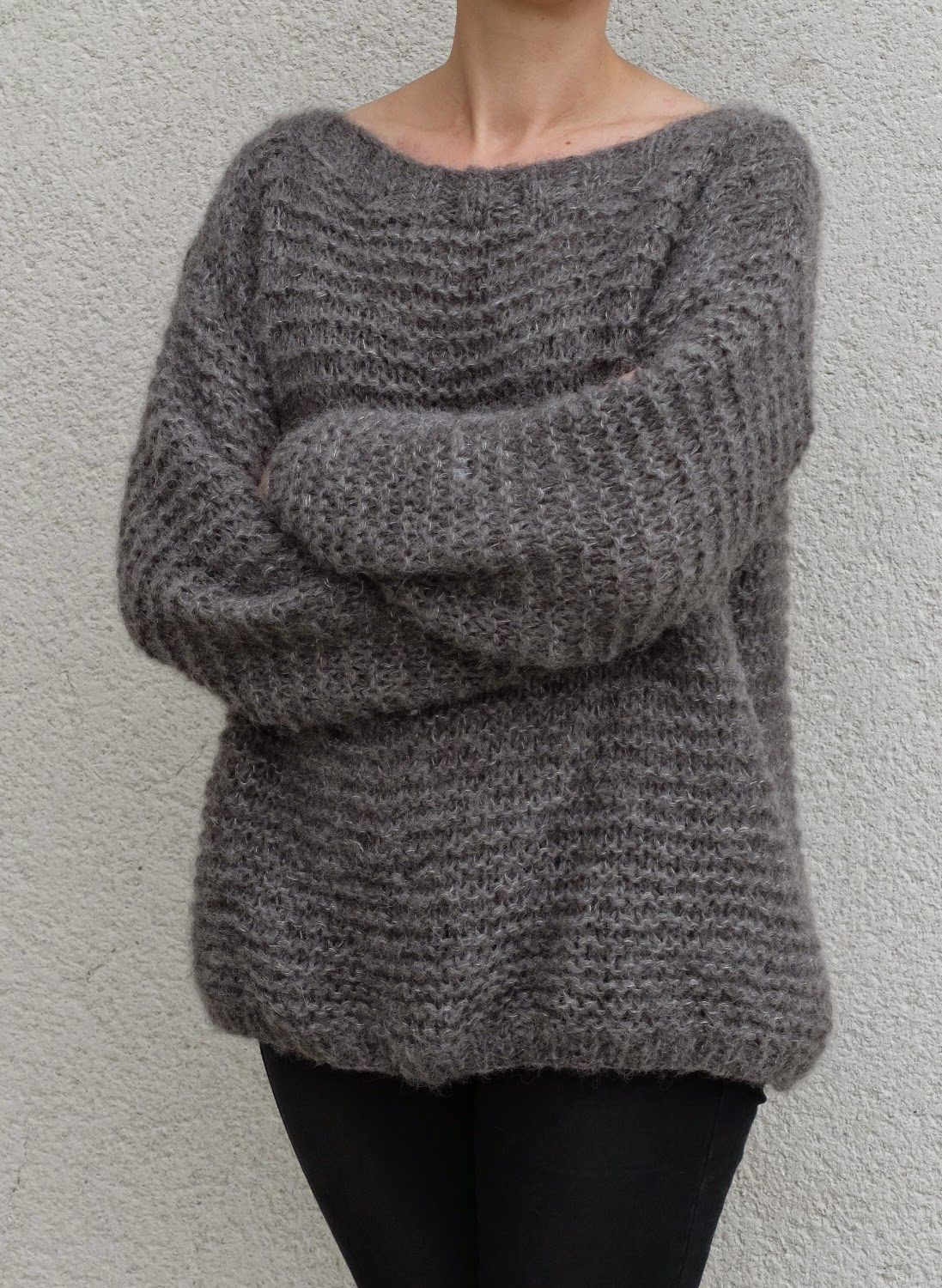 Tricot pull femme point mousse