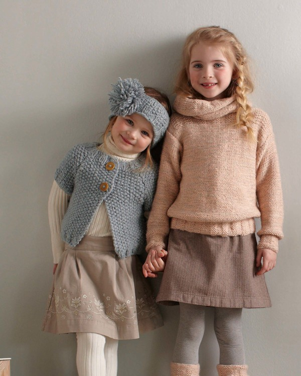 Tricot gilet fille point mousse