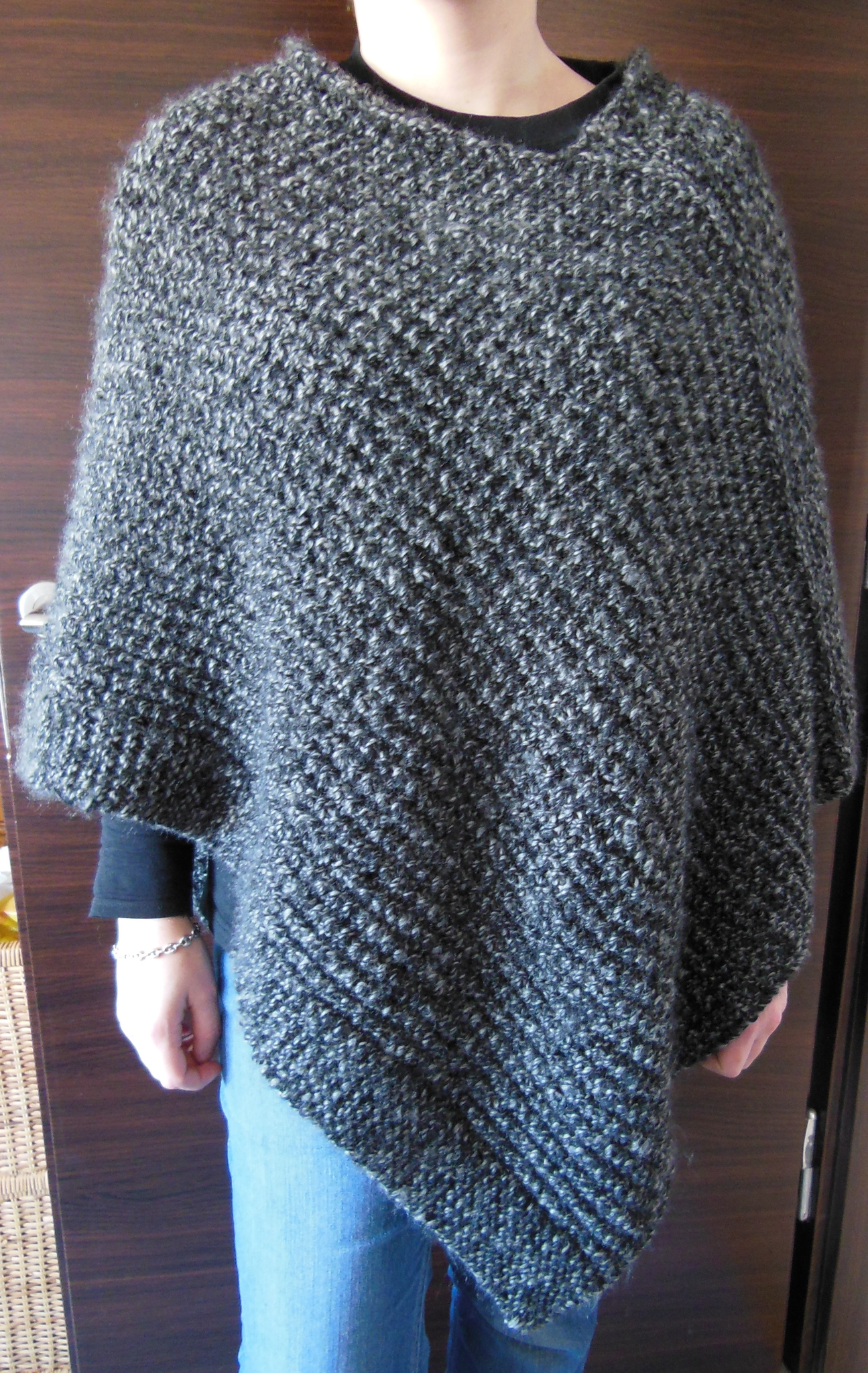 Poncho tricot point de riz