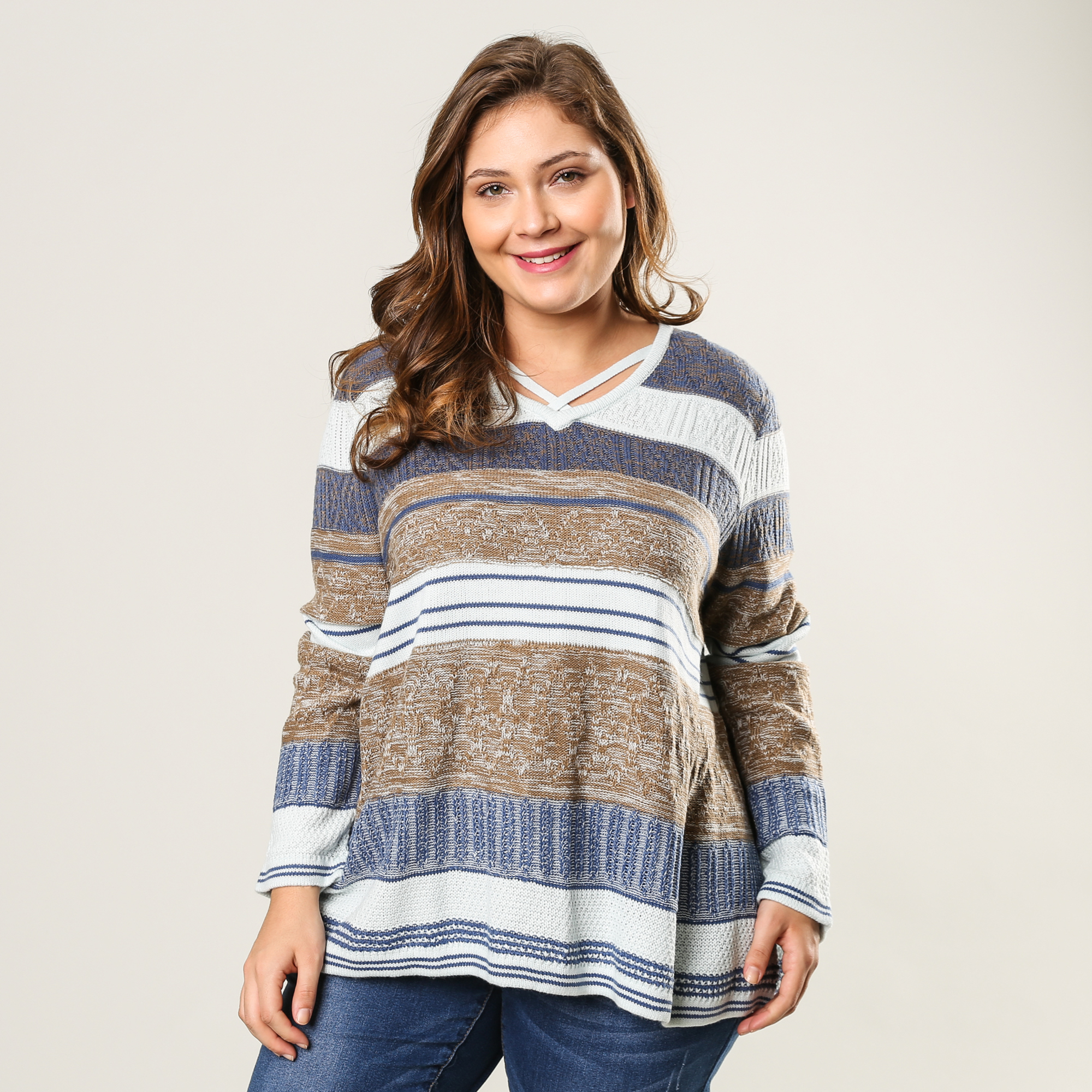Pull tricot rayures
