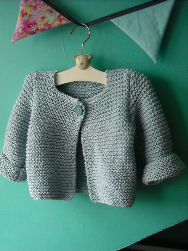 Modele tricot gilet point mousse bebe