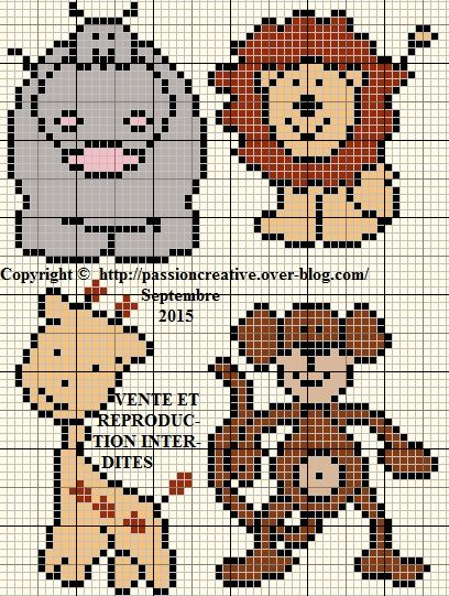 Grille tricot jacquard animaux