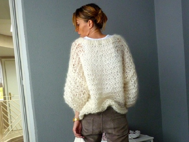 Tricot gilet femme grosse maille