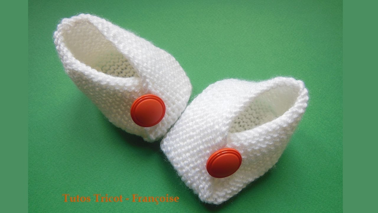 Tricot chausson bebe point mousse