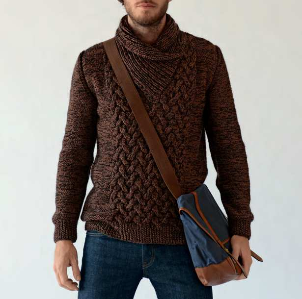 Tricot gilet col chale homme