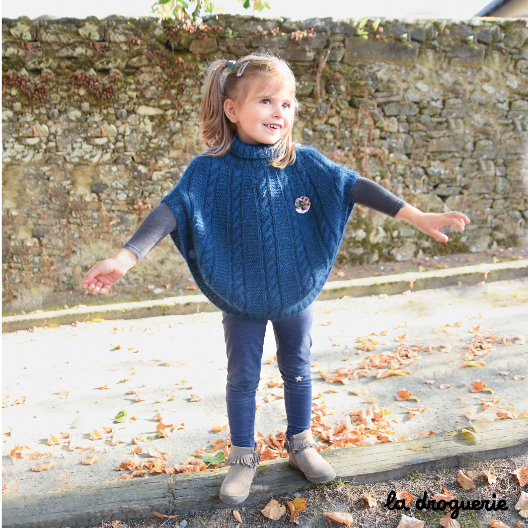 Tricot poncho fille
