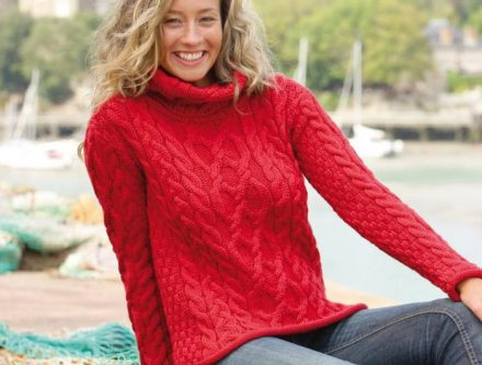 Pull irlandais rouge homme