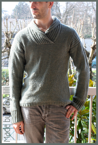Tricot pull col chale homme