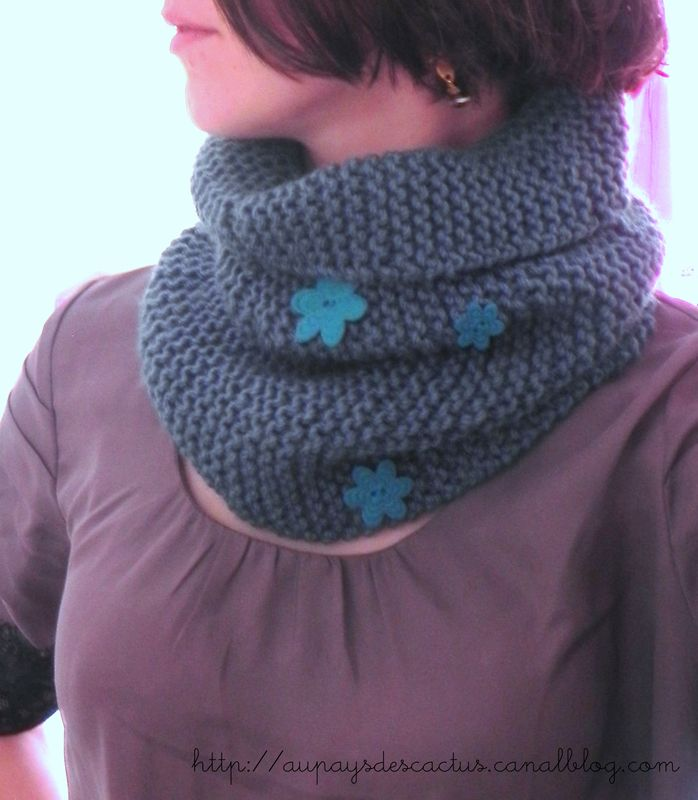 Tuto snood tricot point mousse